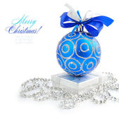 Christmas blue and silver decorations on white background — Стоковое фото