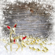 Christmas little roe on a snowbound wooden background — Stock Photo