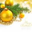 Christmas decorations of bauble are with the branches of fir on festive background — Stock Photo