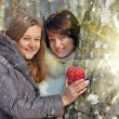 Winter girls with a decorative heart - Stock Photo