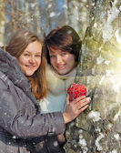 Winter girls with a decorative heart — Stockfoto