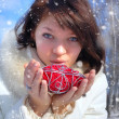 Royalty-Free Stock Photo: Winter girl with a decorative heart