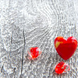Valentines Day background. Red heart on wooden background — Stock Photo