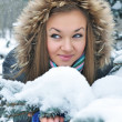 Young beautiful girl in winter - Stock Photo