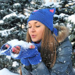 Winter young girl blowing snow - Stock Photo