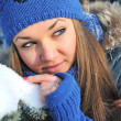 Winter portrait of beautiful girl - Lizenzfreies Foto