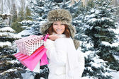Beautiful happy girl with shopping bags in a winter park — Zdjęcie stockowe
