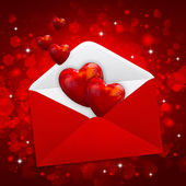 装饰的心是红的邮政信封节日的背上 — 图库照片