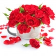 Stock Photo: Bouquet of red roses on white background