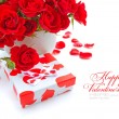 Little gift with red roses on white background — Stock Photo #20142825