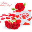 Little gift with red roses on white background — Stock Photo #20143203