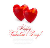 Two hearts are on a white background — Stock Photo
