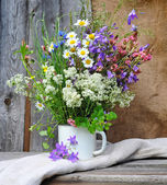 Güzel parlak kır çiçekleri buketi — Stok fotoğraf