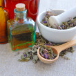 Dry herbal tea Chamerion is with tinctures in bottles on sackcloth, herbal medicine — Stock Photo