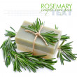 Rosemary Handmade Soap with the branches of rosemary on a white — Stock Photo #21706625
