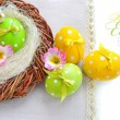 Stock Photo: Colorful easter eggs - easter composition (with easy removable text)