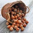 Hazelnuts in the basket on old wooden background - Stock Photo