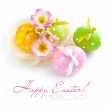 Colorful easter eggs - easter composition on a white background — Stock Photo