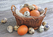 Different types of eggs in a basket on a old wooden background — Foto de Stock