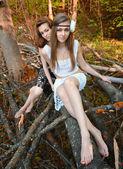 Sonbahar ormanda genç güzel kadın vardır — Stok fotoğraf
