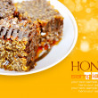 Sweet honeycombs with honey on plate on a yellow background — Foto de Stock