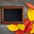 Old wooden frame and autumn leaves over old wooden background — Stock Photo #30743253
