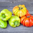Fresh sweet green peppers and tomatoes (sort Beauty Lottringa) — Stock Photo