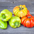 Stock Photo: Fresh sweet green peppers and tomatoes (sort Beauty Lottringa)