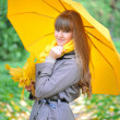 Beautiful young woman is in an autumn park with an umbrella — Stock Photo
