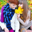 Stock Photo: Young pretty girls whisper at autumn park