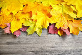 Autumn leaves over old wooden background. With copy space — Stock Photo