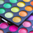 Professional eye shadows palette with makeup brushes. Makeup background — Stock Photo