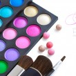 Professional eye shadows palette with makeup brushes on white background — Stock Photo #35094271