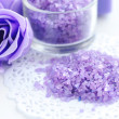 Sea lavender bath salt. Spa concept — Stock Photo