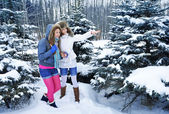 Young beautiful girls are in the winter forest — Stock Photo
