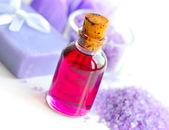 Lavender oil, soap and sea salt. Spa concept — Stock Photo