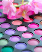 Professional eye shadows palette. Makeup background — Stock Photo