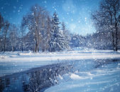 Winter landscape with the river in frosty day — Stockfoto