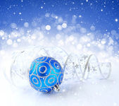 Christmas blue and silver decorations on festive background — Stock Photo