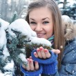 Young beautiful girl in winter — Stock Photo
