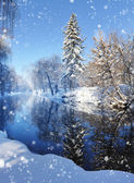 Winter landscape with the river in frosty day — Stock Photo