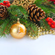 Christmas composition with the branches of fir and Christmas decoration — Stock Photo
