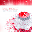 Christmas candle on festive background — Stock Photo