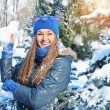 Winter woman play snowballs on snow background — Stock Photo #36505123