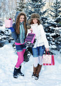 Beautiful happy girls with shopping bags in a winter park — Stok fotoğraf