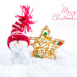 Snowman with christmas star on snow — Stock Photo