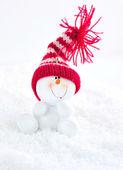 Snowman on snow — Stock Photo