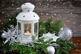 Christmas composition with lantern — Foto Stock