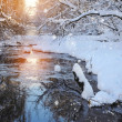 Winter landscape with the river in frosty sunny day — Stock Photo #37338833