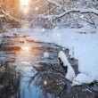 Winter landscape with the river in frosty sunny day — Stock Photo